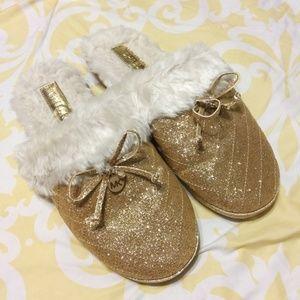 Michael Kors Gold Glitter Slippers Fuzzy Size 9M